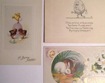 Vintage Victorian era Easter postcards bunnies rabbits chicks lot of 4