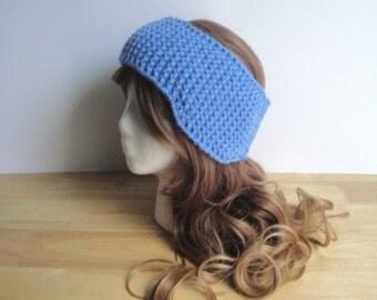 Chunky Knit Ear Warmer with Ear Flaps, Headband, Blue Wool Blend, Adults Teens