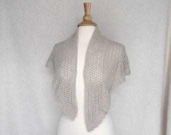 Crochet Lace Shawl, Shawlette, Large Wrap Scarf, Cotton & Bamboo, Tan Brown, Natural Fiber