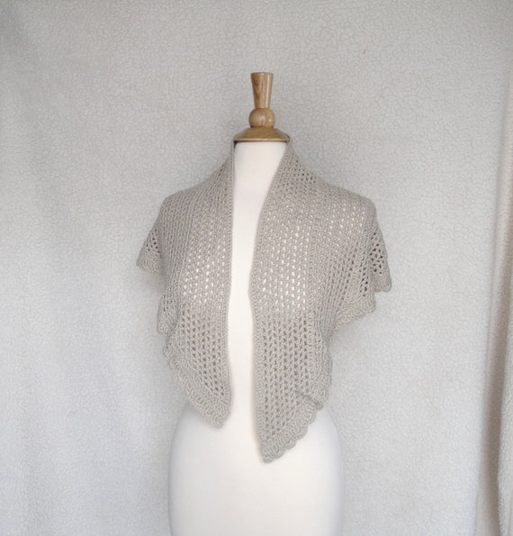 Crochet Lace Shawl, Shawlette, Large Wrap Scarf, Cotton & Bamboo, Tan Brown, Natural Fiber