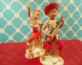 Kitch Figurines Mid Century Modern Dancer Muscian  by L & M Vintage 1950s