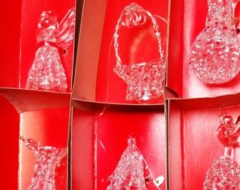Six Vintage Spun Glass Ornaments in Box (2 Vases, Basket, Angel, Tree, Bell w/Angel)