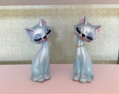 vintage cat bookends, Japanese ceramics, mid century modern decor, sassy ceramic cats