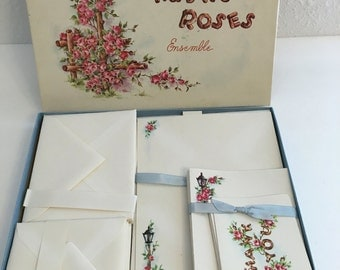 Vintage Stationery Set, Rustic Roses Stationery set, Note Paper, Thank You Cards, Blank Cards