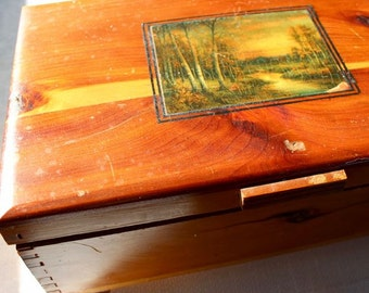 Vintage Wooden Box Cedar Jewelry Keepsake Forest Scene Trinkets