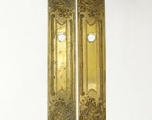 RESERVED Pair of Brass Finger Plates, Brass Push Plates, Door Furniture, Door Plate, French Finger Plate, French Door Plate 4349