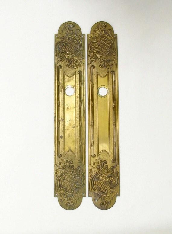 Reserved pair of brass finger plates brass push plates door for Door finger plates