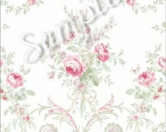"Dollhouse Miniature Wallpaper, "" Beauté Sereine"", Scale One Inch"