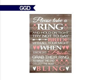 """INSTANT DOWNLOAD Rustic Bridal Shower Game - Ring Game, printable sign, Don't Say """"Bride, navy and blush bridal shower game"""