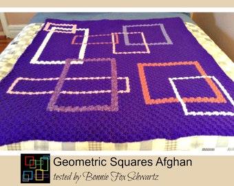 C2C Graph, Geometric Squares Afghan, C2C Graph,  Written Word Chart, graph, c2c, c2c afghan