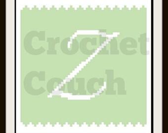 C2C Graph, Letter Z, Baby Blanket, C2C Graph, & Written Word Chart, Monogrammed Baby Blanket, C2C Baby