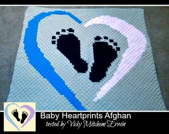 C2C Graph, Baby Heart Prints, Baby Afghan, C2C Graph, and Written Word Chart