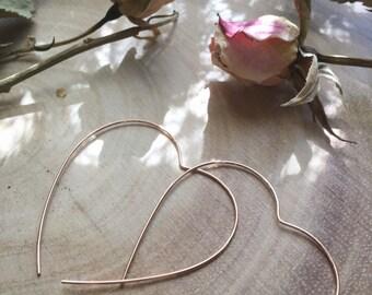 OPEN HEART rose gold wire hoop earrings heart shaped