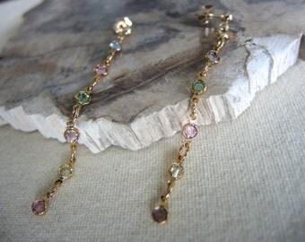 Swarovski Earrings, Multi Color Swarovski Crystal With 14K Gold Filled Bezel Earrings, Swarovski Jewelry Gifts For Her, Gold Earrings