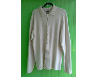Vintage Jil Sander Men's Soft Wool Cream Cardigan Sweater Italy 1990s Large