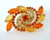 Orange Yellow Brooch Pin Flower Swirl Chaton Navette Rinestones Juliana