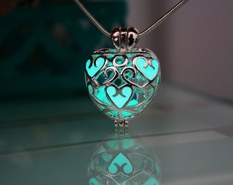 Locket HEART with Tiny Hearts GLOW in the DARK