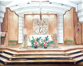 Custom Watercolor Venue Painting. Churches. Reception Halls. Vineyards. Venues.