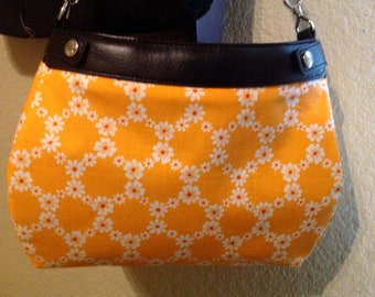 Thirty One Suite purse cover handmade orange and white floral chains Michael miller