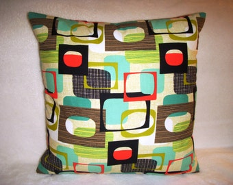 1950 Pillow Cover Repro Eames Mid Century Squares Frames Turquoise Black Brown Olive Red Cream Lime Zipper