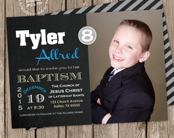 LDS Boy Baptism Photo Invitation Digital Printable, ANY color ANY wording with free back design (printed cards available) chalkboard