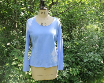 Tie Dye Long Sleeve Top in Sky Blue, Custom Hand-Dyed Cotton T Shirt, Boho Hippie Festival Hipster Top.  Size L