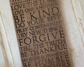 Family Rules, Personalized, Scripture Rules, Words to live by, Religious Sign, Wood Sign, Gift