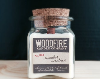 CEDAR & PATCHOULI Apothecary Cork Topped Jar Wood Wick Soy Candle - 8.5oz - Perfect Gift - Man Candle