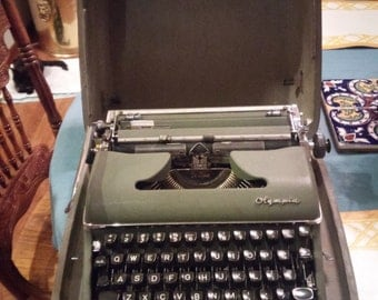 Vintage 1950s Olympic Typewriter, Army Green Typewriter, Antique Decor.