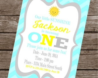 LITTLE SUNSHINE Happy Birthday Party or Baby Shower Invitations Set of 12 {1 Dozen} Blue Yellow - Party Packs Available