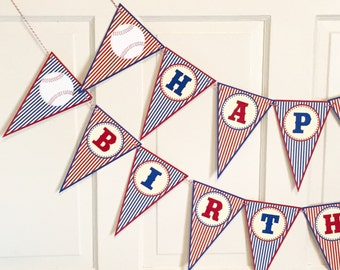 BATTER UP BASEBALL Themed  Red Navy Themed Party Happy Birthday or Baby Shower Banner Red Navy - Party Packs Available
