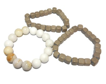 Bead stretch bracelet, natural gemstone, your choice of one 12mm round white bracelet or 8mm square grayish brown