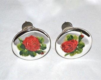 Mercury Glass Drapery Hold Backs, or Knobs, A Pair with Chippy Painted Roses, Vintage