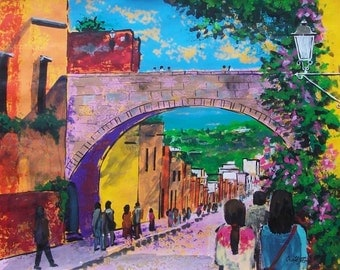 """Original painting of Canal street and spring flowers in San Miguel de Allende architecture home decor 19.5""""x 27.5"""""""