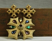 Vintage Maltese Cross and Rhinestone Brooch and Matching Earrings