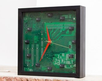 Geeky Wall / Desk clock - recycled Computer - green circuit board - ready to ship c4930