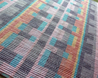 36 x 56 Handwoven rug-lavender, blue, turquoise and copper