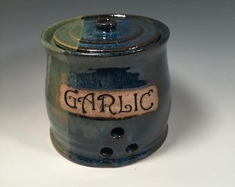 Garlic Jar -  Lidded Jar - Pottery Garlic Keeper - Kitchen Storage -  Monet Blue Green