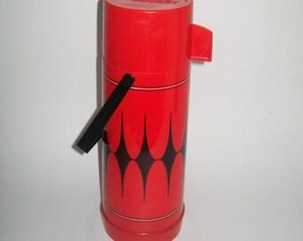Vintage Aladdin Thermos Red Black Diamond Insulated Camping Picnic Thermos 1960
