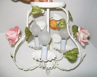 Vintage French Tole Ware Chandelier Rose Ceiling Light French Country