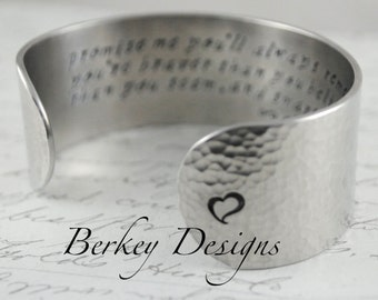 Design Your Own Custom Secret Message Hand Stamped Personalized Cuff Bracelet