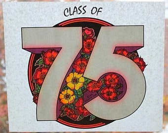 "Vintage IRON ON TRANSFER For T-Shirts ""Class Of 75"" - 1970s Old Stock"