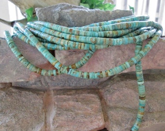 "6MM Natural Turquoise Heishi Bead Soft Blue Green 16"" Strand"