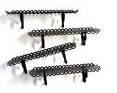 Retro Black Pierced Metal Shelves Set of Four Clover Quatrefoil and Scroll Heart Design Mid Century