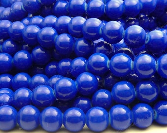 8mm Royal Blue Round Glass Beads - Smooth, Shiny Beads - 25pcs - BL33