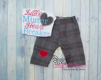 Baby boy Valentine's Day outfit, Baby Valentine, Ladies man, Heart breaker , Baby valentines day outfit, Valentines day shirt pants