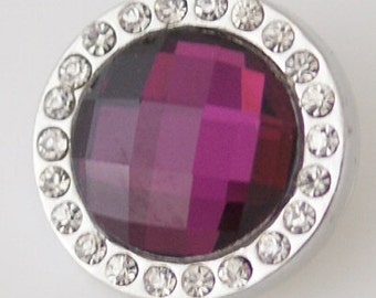 1 PC 18MM Purple Faceted Rhinestone Silver Snap Candy Charm kb3702 CC1265