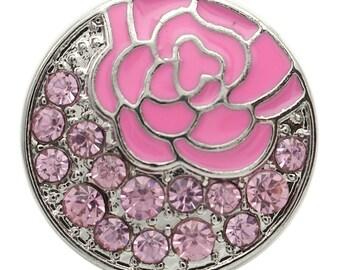 1 PC 18MM Pink Enamel Flower Rhinestone Silver Candy Snap Charm kb7134 CC1734