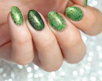Mossy Stone - custom holographic shimmer green microflakies metallic green nail polish