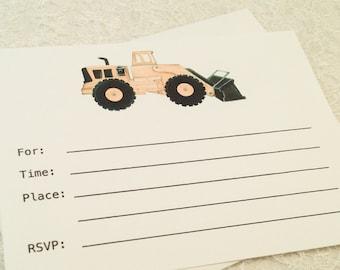 Birthday Party Invitations-Construction Dump Truck Car Fill in Invitation-Party Invitations for Boys Birthday Party-Set of 10